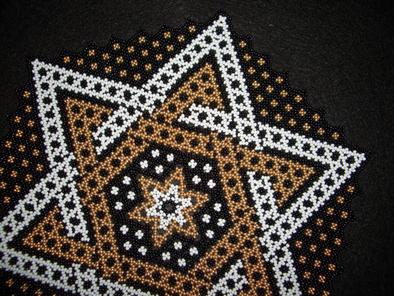 Hand Stitched Star Design Beaded Doily