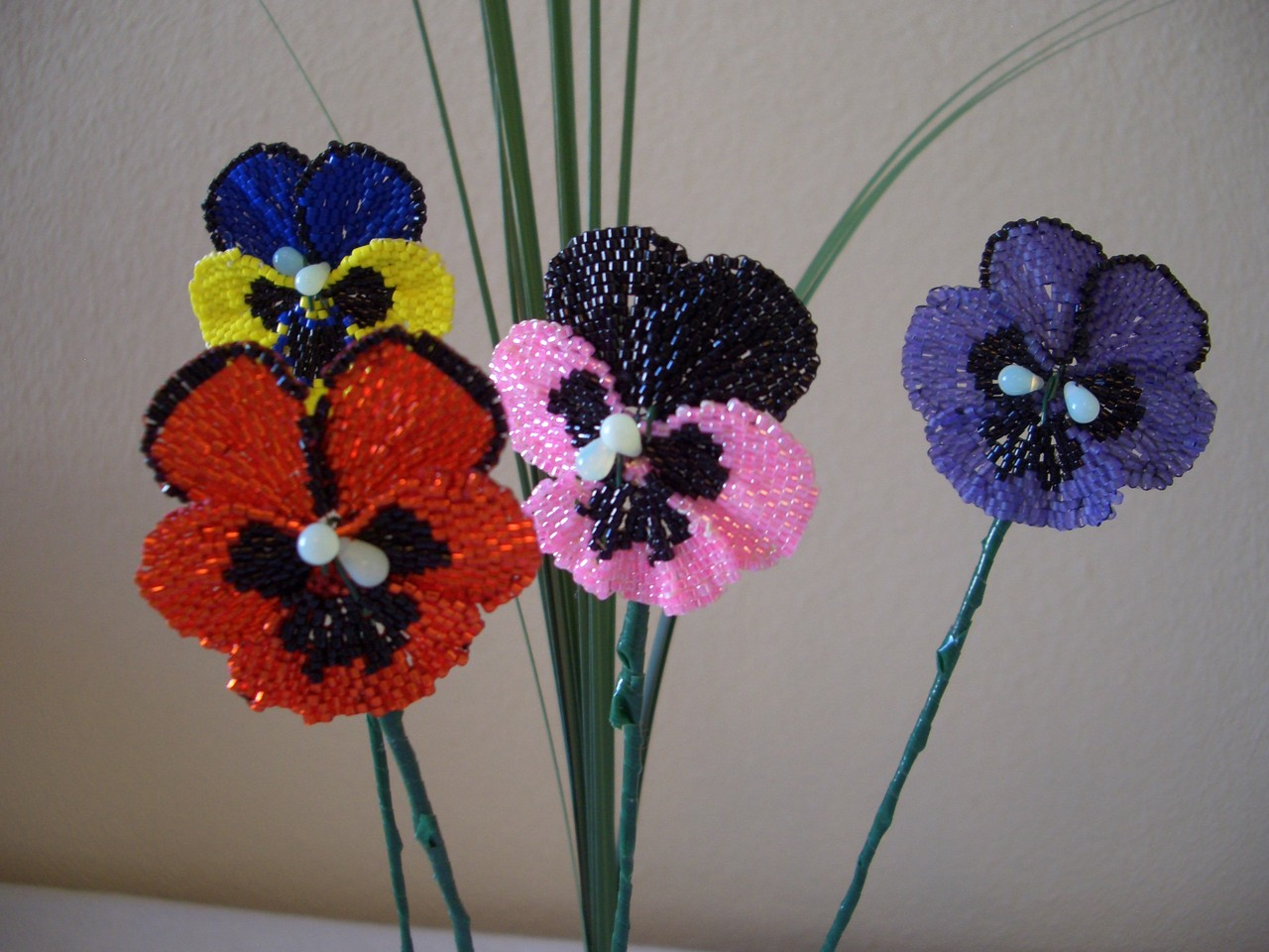 Pansy Beaded Flower Bouquet Arrangement