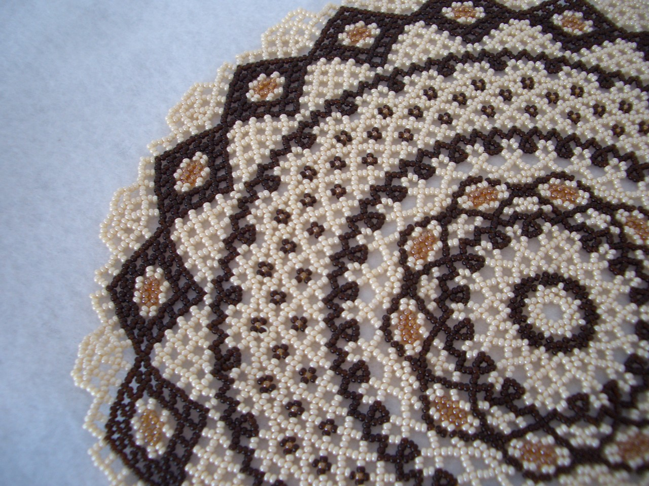 Hand Stitched Lace Design Beaded Doily