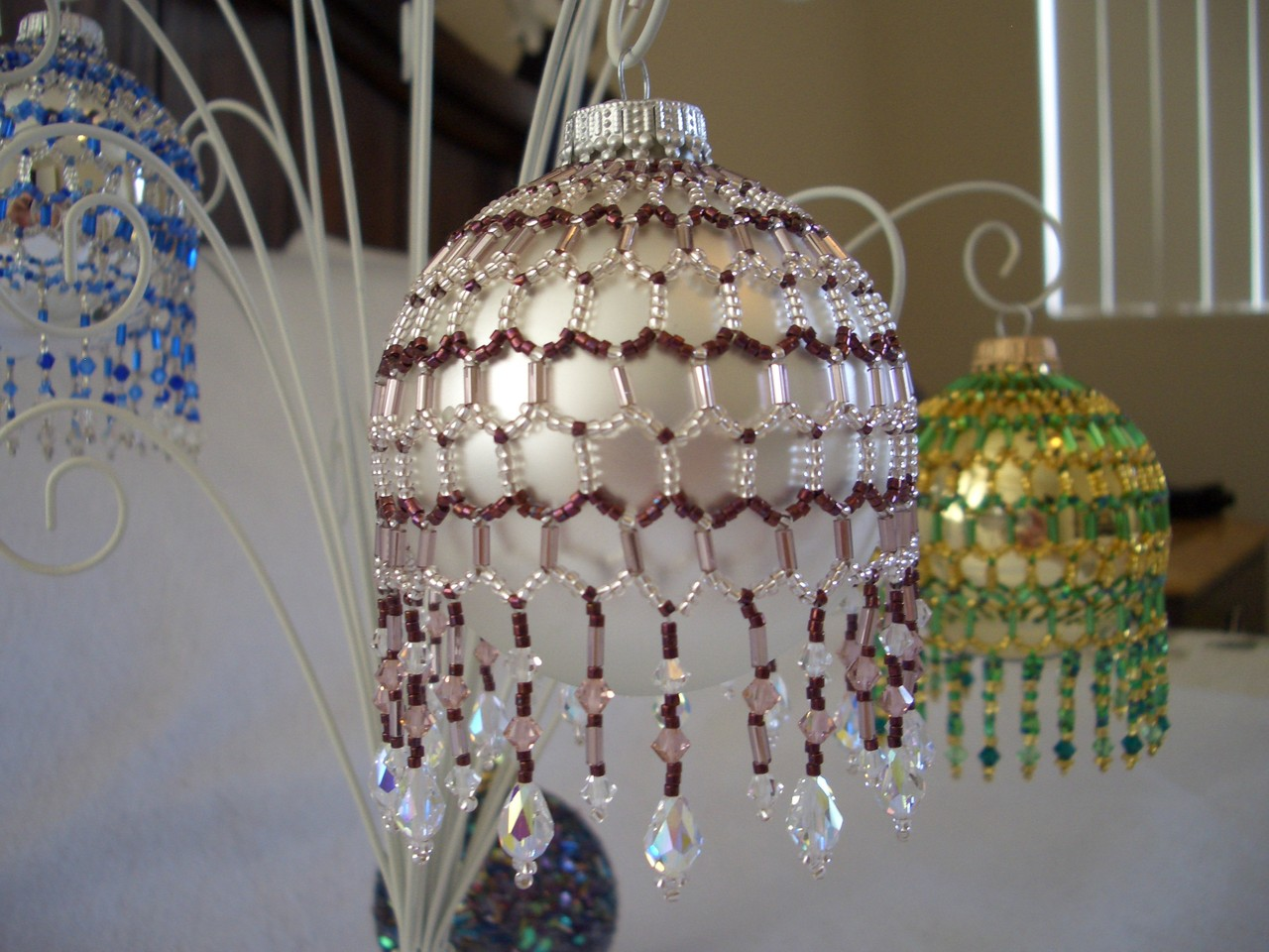 Hand Stitched Beaded Net Design Ornament Covers