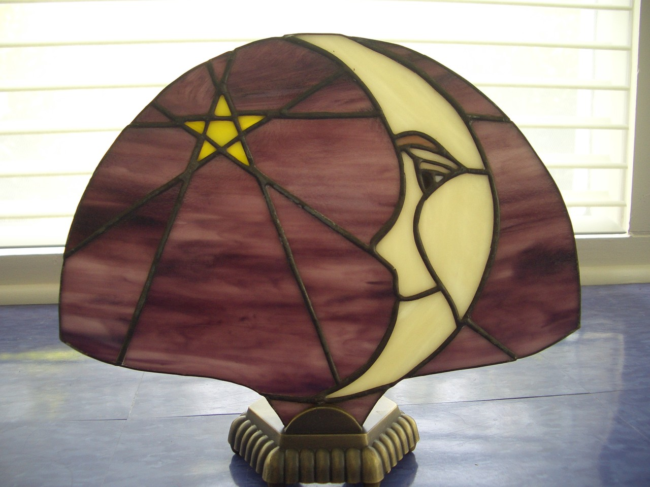 Moon Star Stained Glass Tiffany Style Fan Lamp