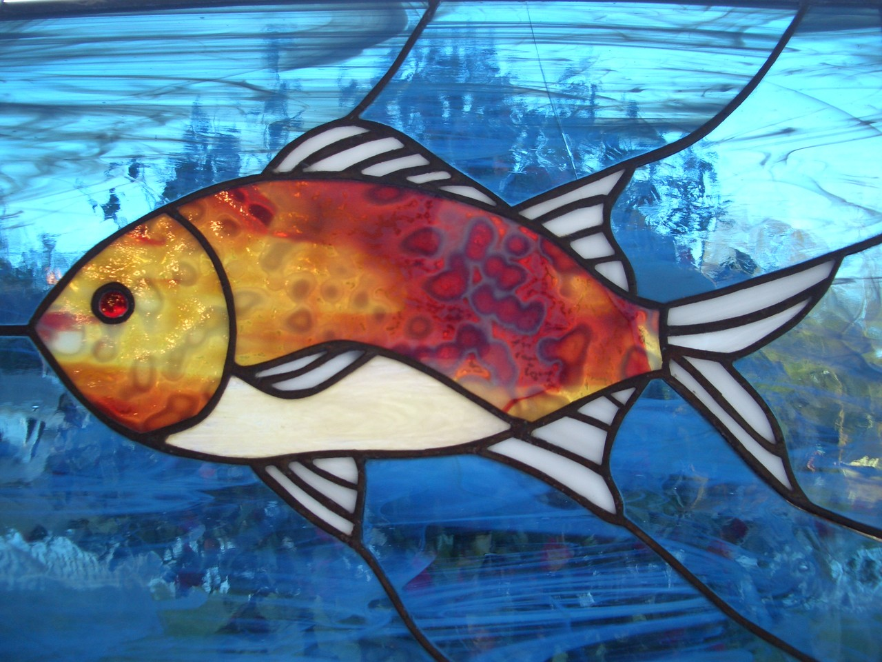 Fish Stained Glass Panel