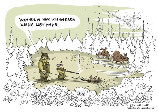 Cartoon über Elchjagd: Jäger erlegt Hund