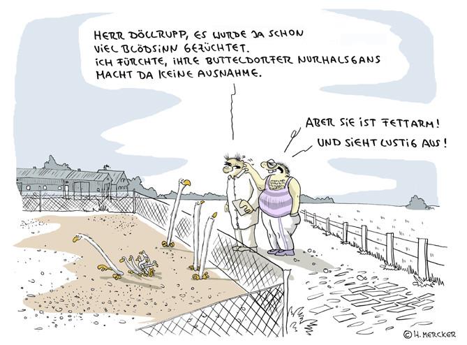 Cartoon: fettarme Gans als sehr spezielle Züchtung
