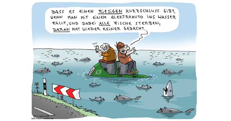 Cartoon von H. Mercker zum Thema Elektromobilität