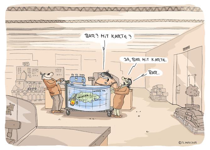 Cartoon: bar oder mit Karte im Baumarkt