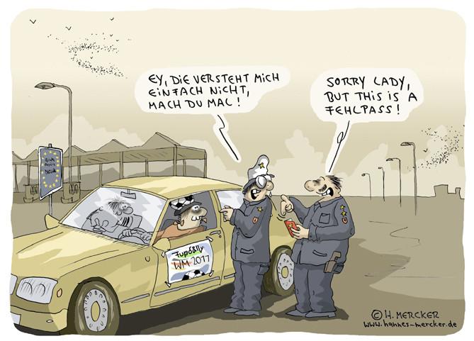 """Cartoon """"Grenzkontrolle (Frauen WM Deutschland 2011)"""""""""""