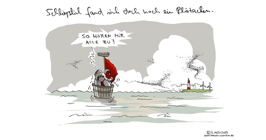 Tagesaktueller Cartoon von H. Mercker zur schwierigen Suche nach einem Auftrittsort für den türkischen Außenminister Cavusoglu.
