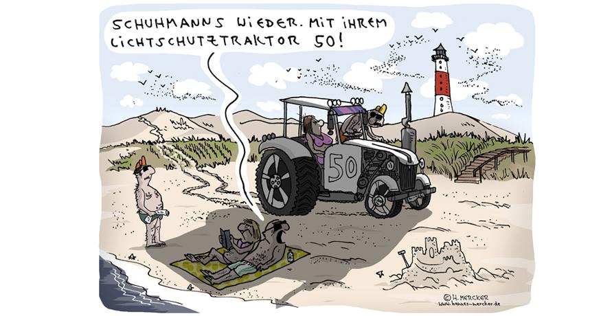 Cartoon von H. Mercker zum Thema Lichtschutz im Sommer.