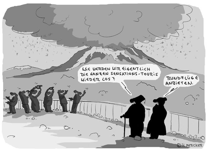 "Cartoon  ""Sensation am Ejafjallajökull (Aschewolke 2010)"""