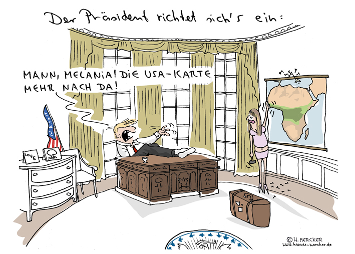 Tagesaktueller Cartoon: Donald Trump wird neuer US-Präsident.