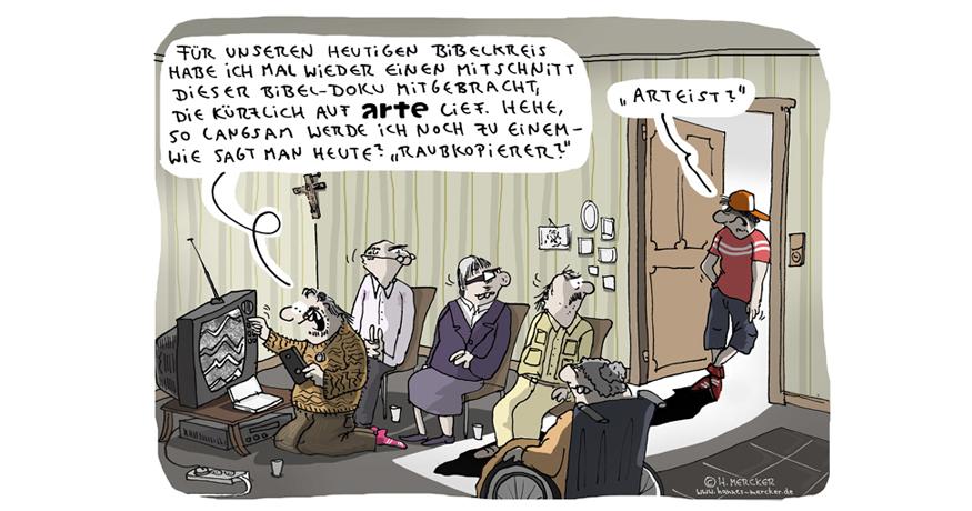 Cartoon von H. Mercker zum Thema Bibel-Doku