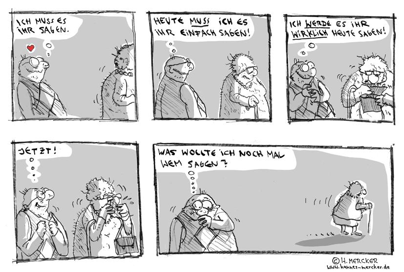 Comic von H. Mercker über: die Liebe.