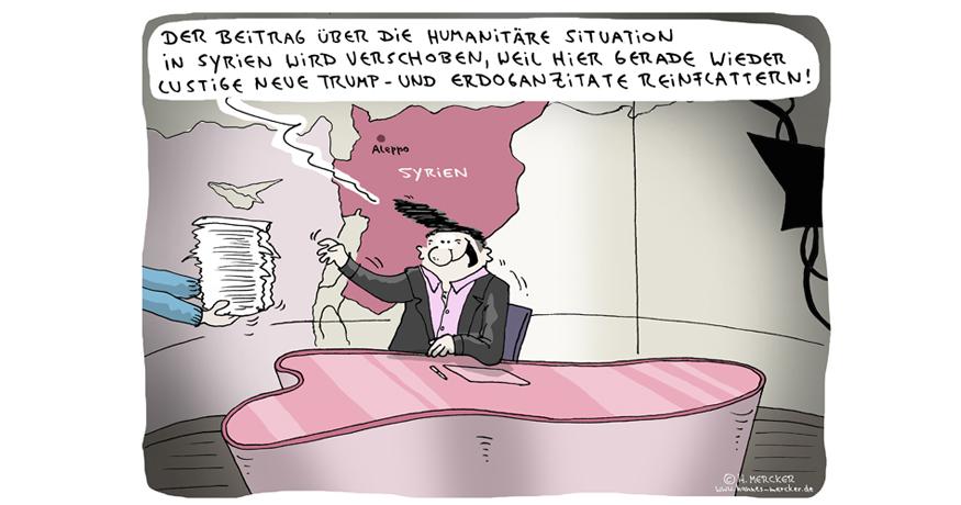 Tagesaktueller Cartoon von H. Mercker zur Nachrichtenlage im März 2017.