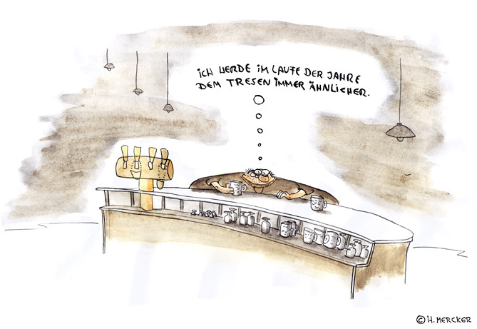 "Cartoon ""Gedanken am Tresen"""