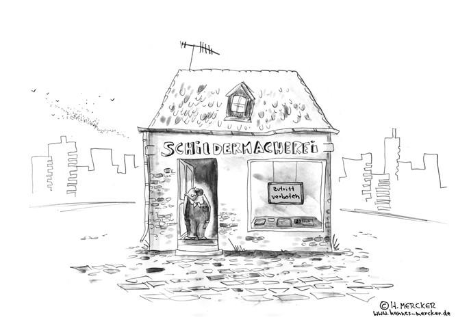 Cartoon: Schildermacher, Missverständnis, schlechte Werbung