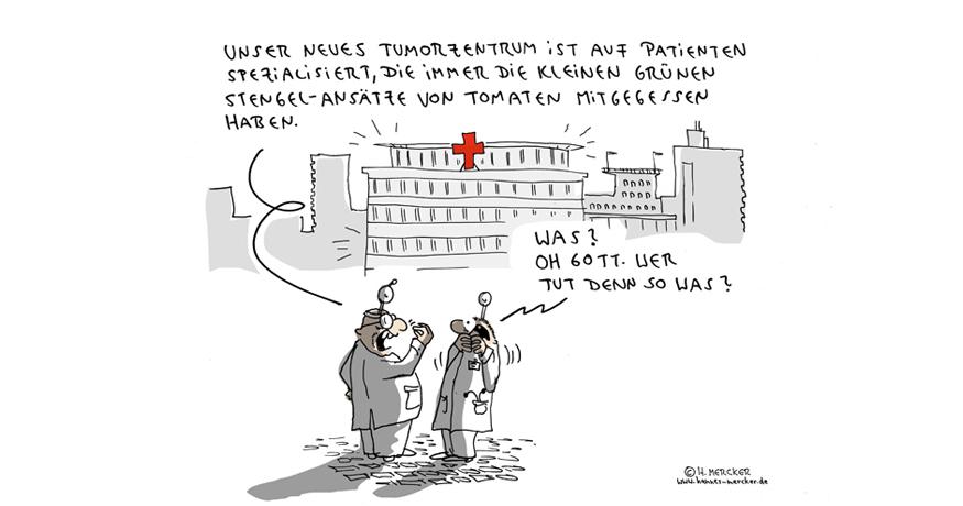Cartoon von H. Mercker über gesundheitliche Aspekte der Tomate