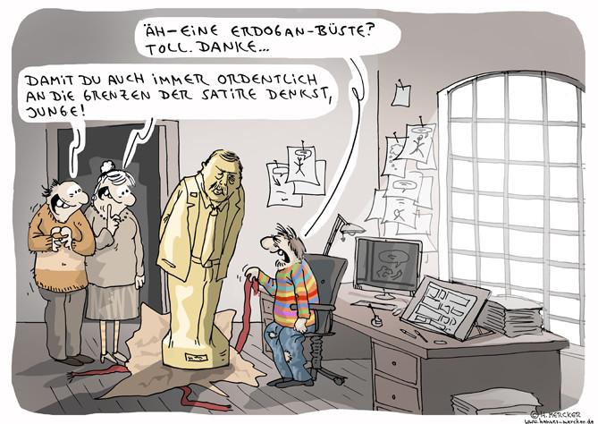 tagesaktueller Cartoon zur Staatsaffäre um Jan Böhmermann