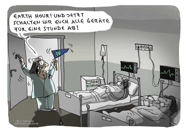 Cartoon von H. Mercker zur Earth Hour 2018
