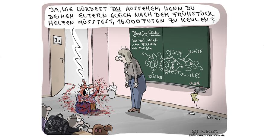 Tagesaktueller Cartoon von H. Mercker zum Ausbruch der Vogelgrippe im Winter 2016