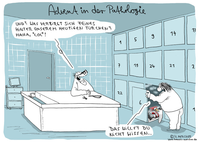 "Cartoon ""Advent in der Pathologie"""