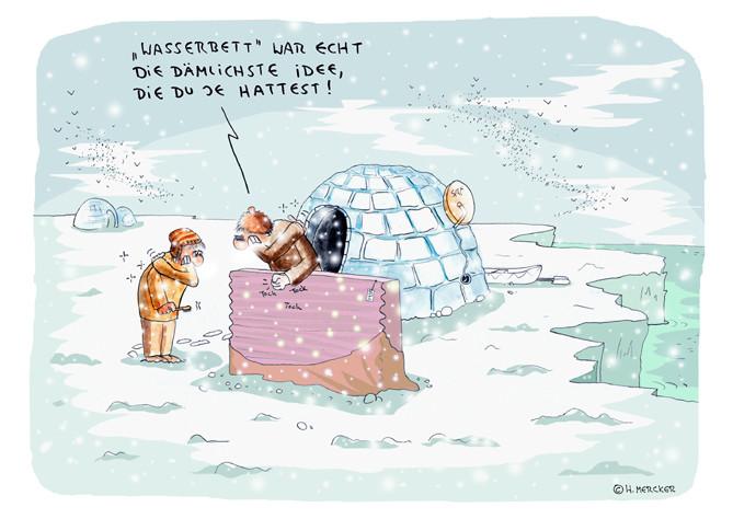 Wasserbett comic  Cartoon 04 Wasserbett - H. Mercker: Cartoonist und Illustrator