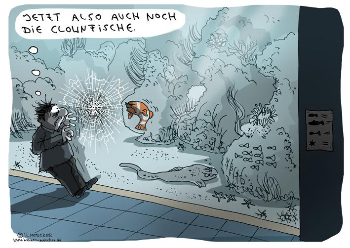 Tagesaktueller Cartoon von H. Mercker zum weltweiten Phänomen der so genannten Horror-Clowns