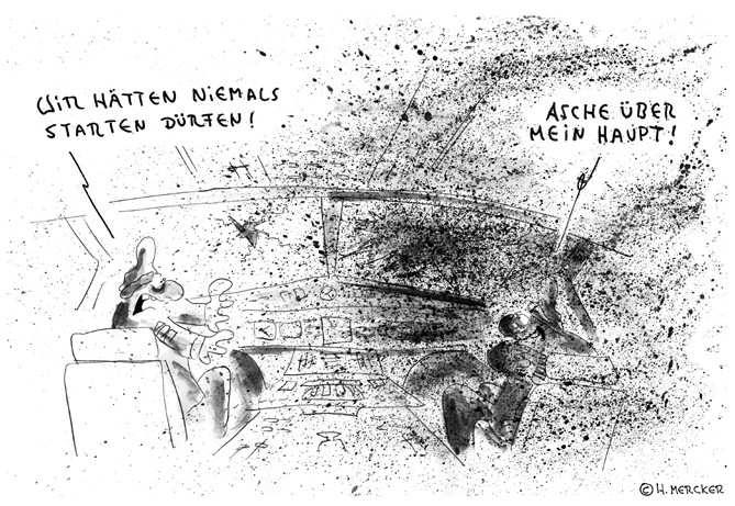 """Cartoon """"Erster Flug (Aschewolke 2010)"""""""