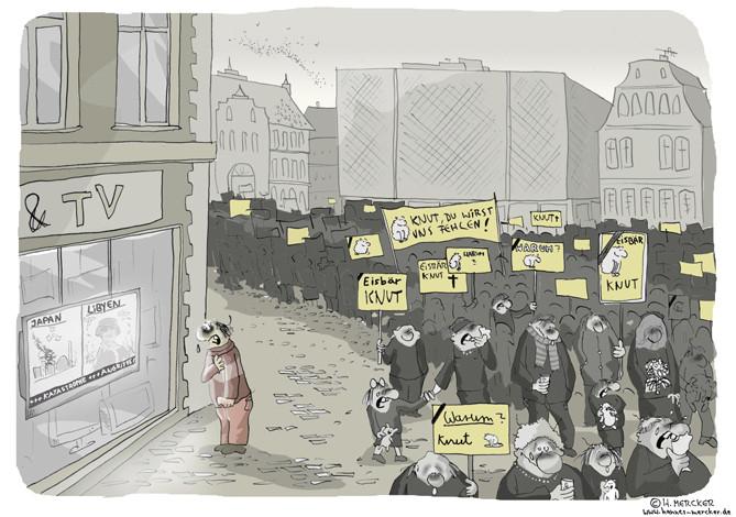 "Cartoon ""Ereignisse (Knut, Libyen, Fukushima 2011)"""