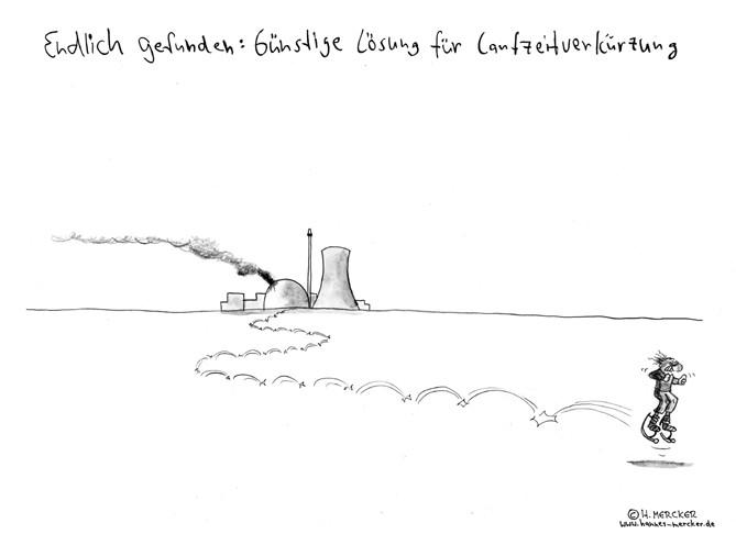 """Cartoon """"Laufzeitverlängerung (AKW Debatte nach Fukushima 2011)"""""""