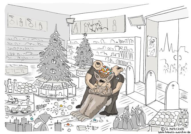 "Cartoon ""Im Kaufhaus"""