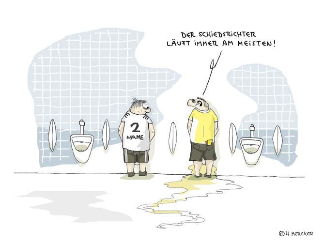 Cartoon: Der Schiedsrichter läuft immer am meisten