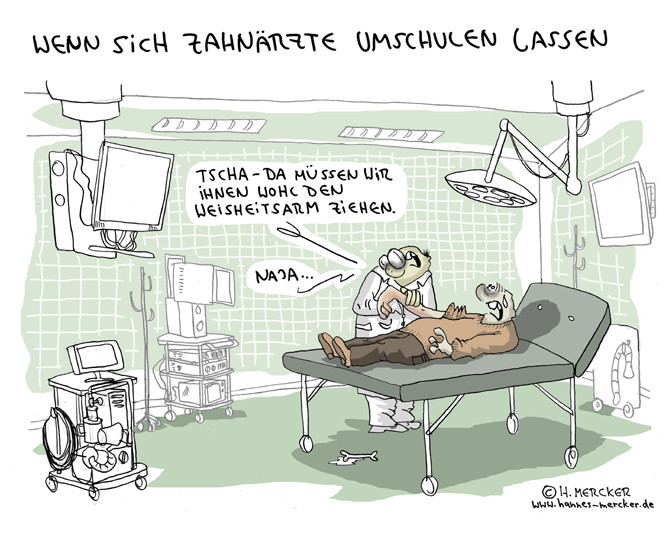 Cartoon: Arzt, Zahnarzt, Kunstfehler