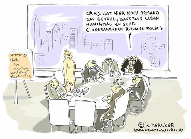 "Cartoon ""Eingefahrene Rituale"""