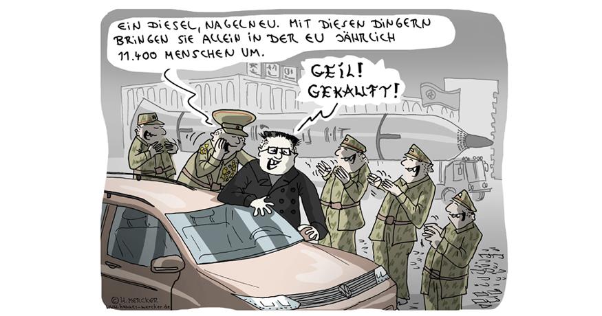 Tagesaktueller Cartoon von H. Mercker zum Dieselskandal