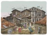 Zwischen den Holzhäusern