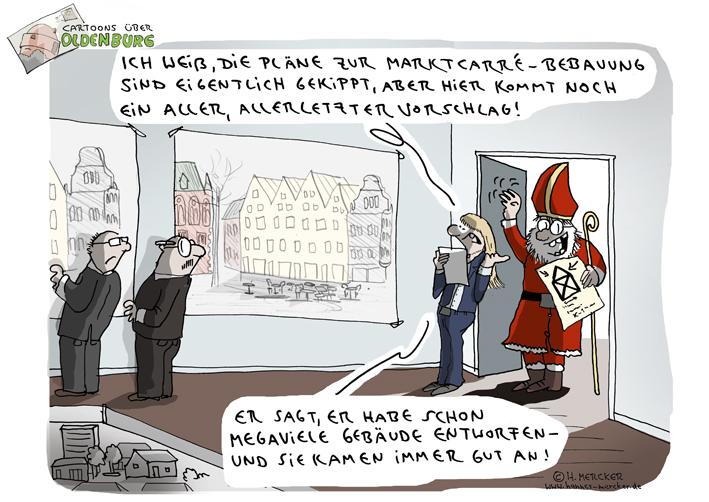 Cartoons über Oldenburg 12: Marktplatz-Bebauung