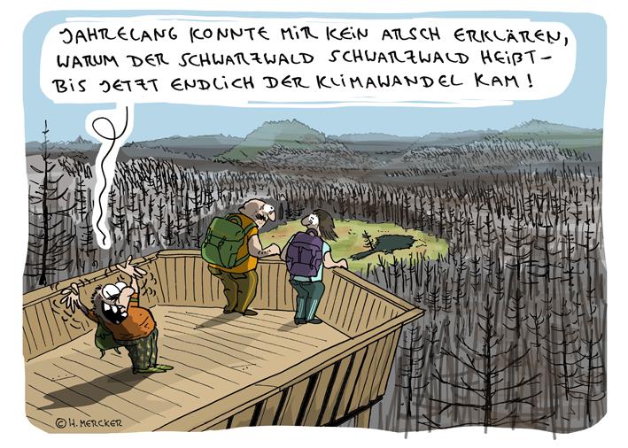 Cartoon von H. Mercker über das Waldsterben (im Schwarzwald)