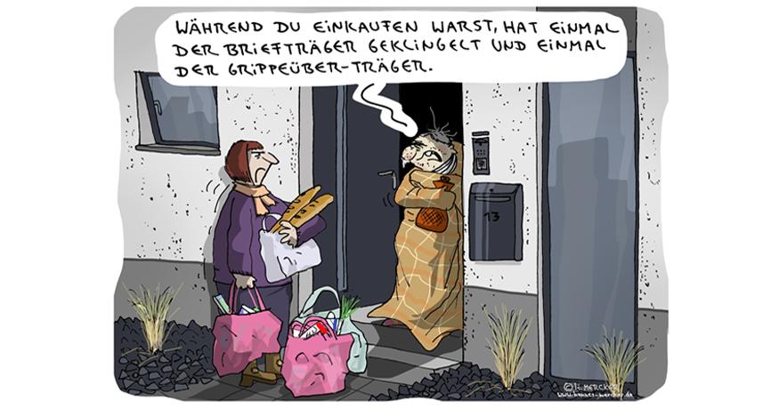 Cartoon von H. Mercker zum Thema Grippewelle.