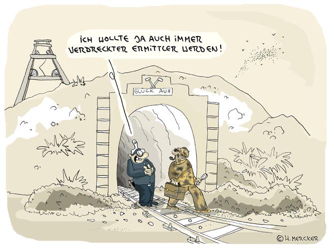 """Cartoon """"Ermittlergespräch"""""""