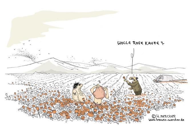 Cartoon: Liebe im Rosenfeld