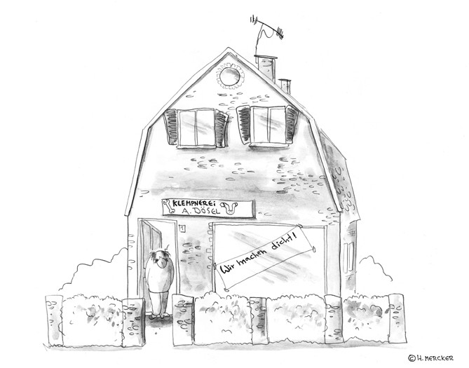 Cartoon: Klempner, Kunden, Problem mit Werbung