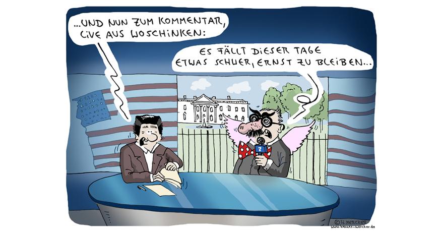 Tagesaktueller Cartoon von H. Mercker: US-Republikaner sagen Abstimmung zur Gesundheitsreform ab (März 2017).