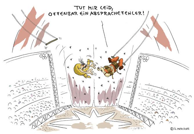 Cartoon,Zirkus: Trapezkünstler unter der Zirkuskuppel, Problem mit der Absprache