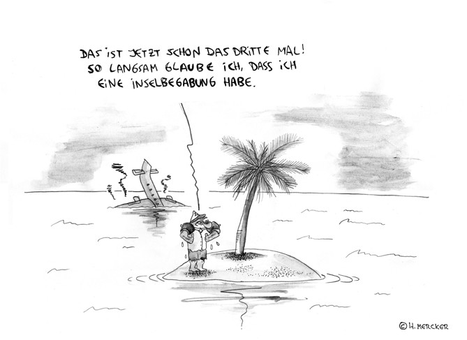 Cartoon: Inselwitz, Flugzeugabsturz, Palme