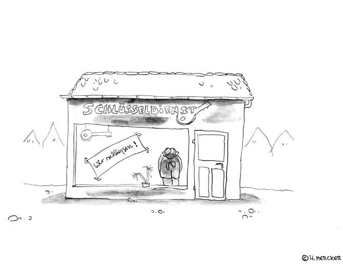 Cartoon:Verfehlte Werbung, zum Schlüsseldienst kommen keine Kunden