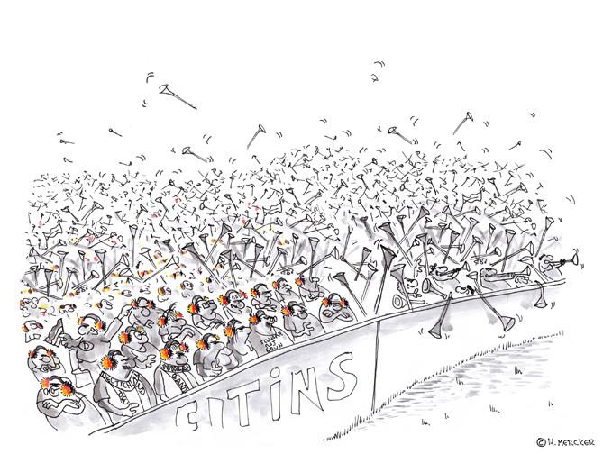 """Cartoon """"Auf die Ohren (Fußball-WM 2010)"""""""