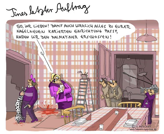 """Cartoon """"Tines letzter Auftrag (über Einrichtungsshows 2011)"""""""