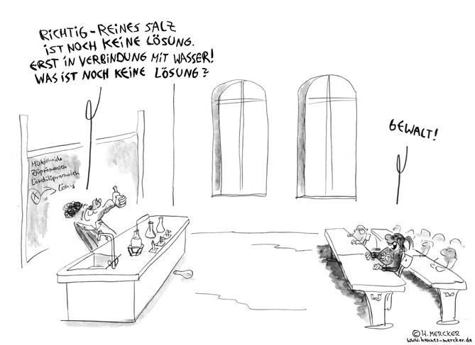 """Cartoon """"Pazifistischer Chemieunterricht"""""""