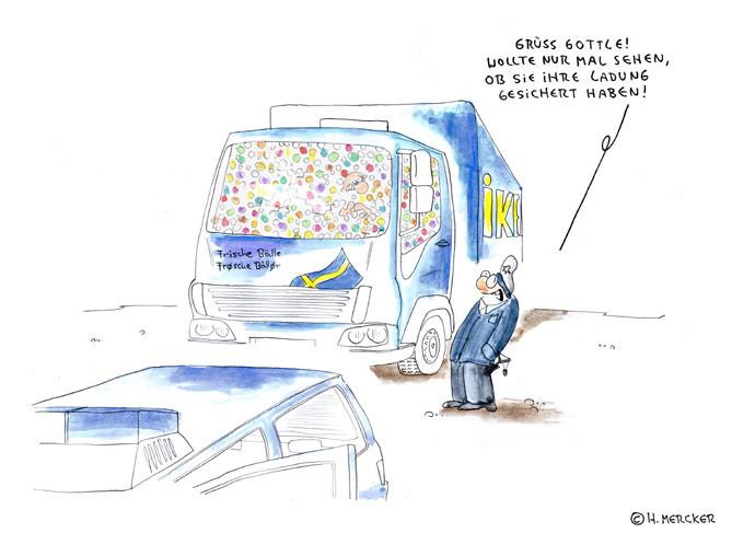 """Cartoon """"Ausgebremst"""""""